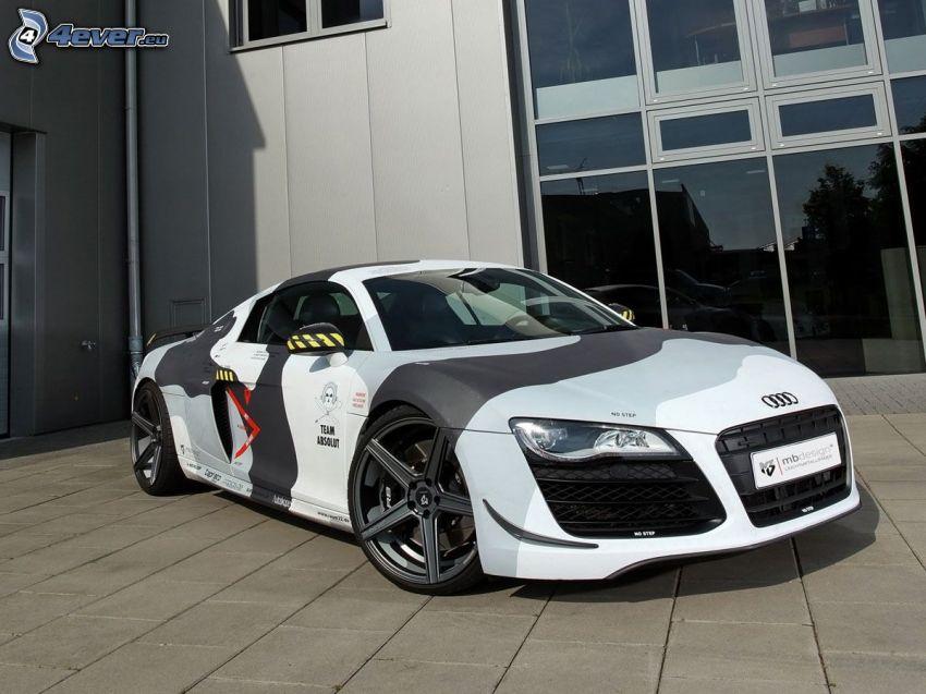 Audi R8, building, pavement