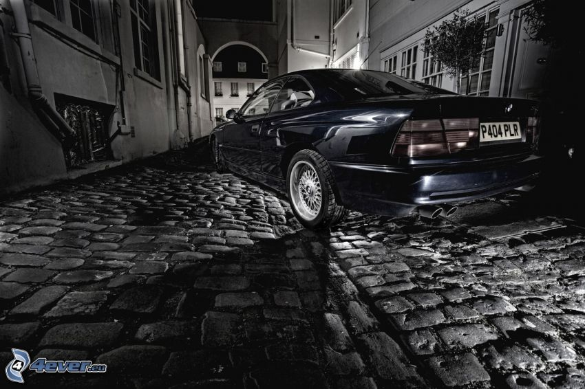 BMW, pavement, black and white photo