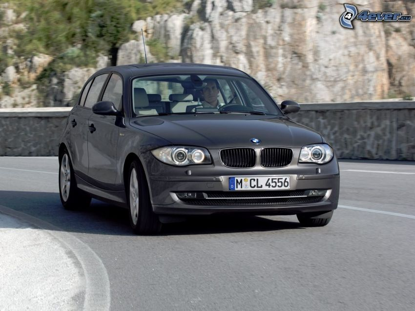 BMW 1, road, rock