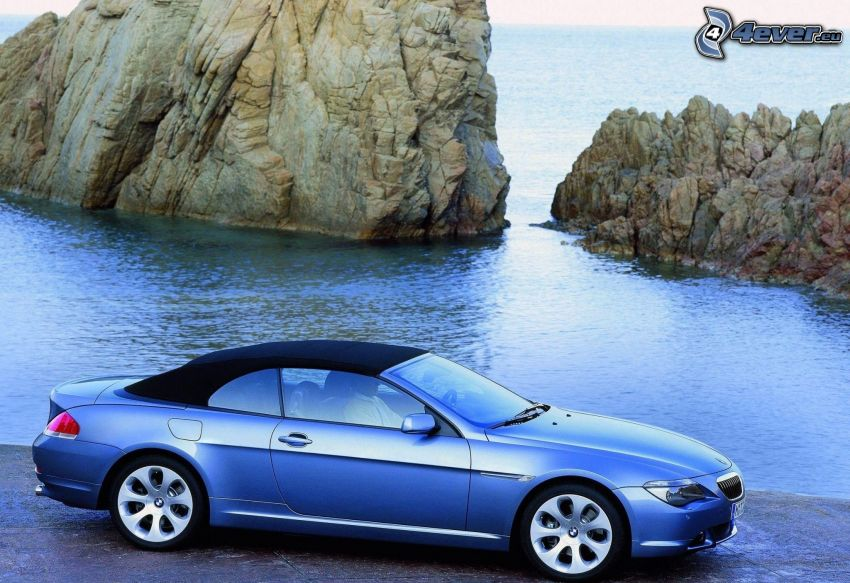 BMW 6 Series, convertible, rocks in the sea