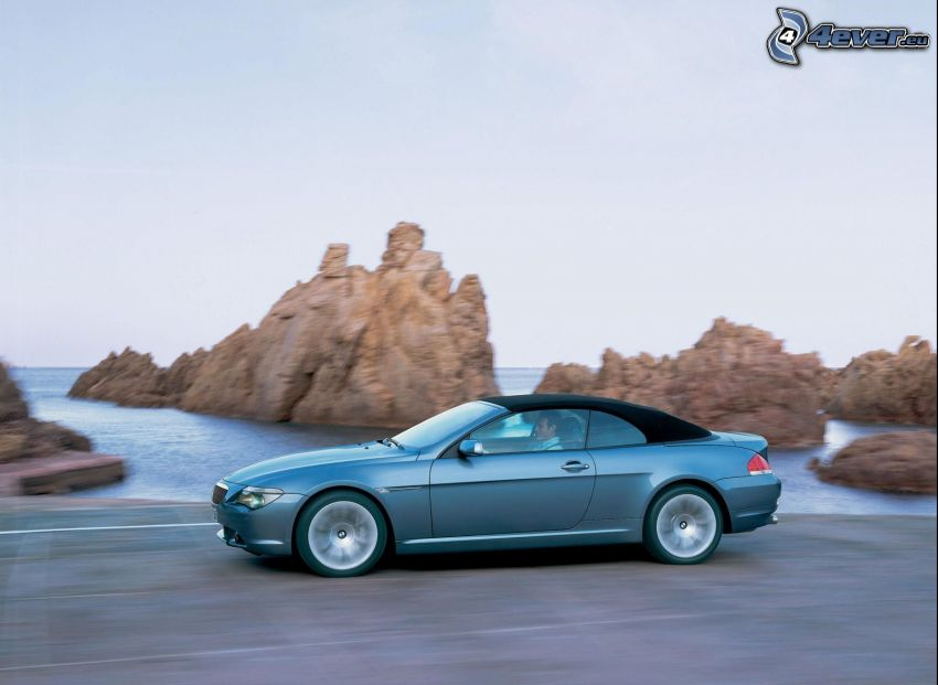 BMW 6 Series, convertible, speed, rocks in the sea