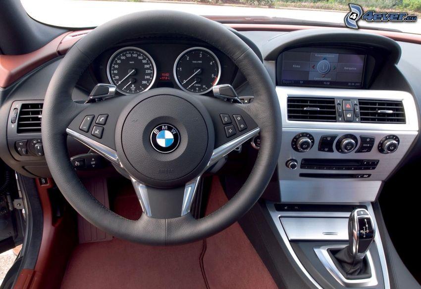 BMW 6 Series, interior, steering wheel, dashboard