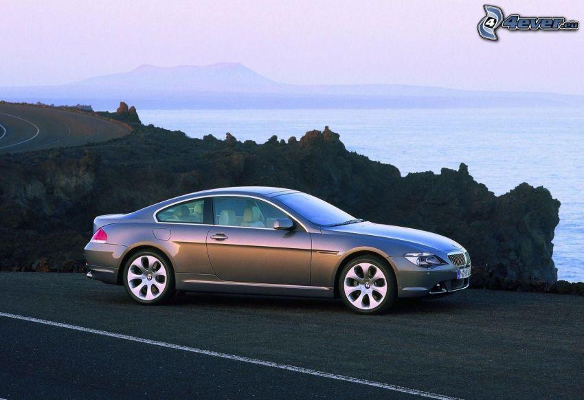 BMW 6 Series, road, rock