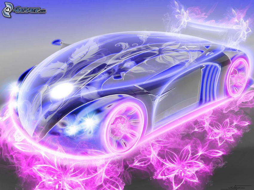 Bugatti EB110, neon, cartoon flowers, cartoon car