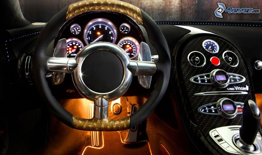 Bugatti Veyron, interior, steering wheel