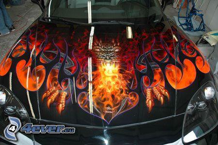 car hood, fire
