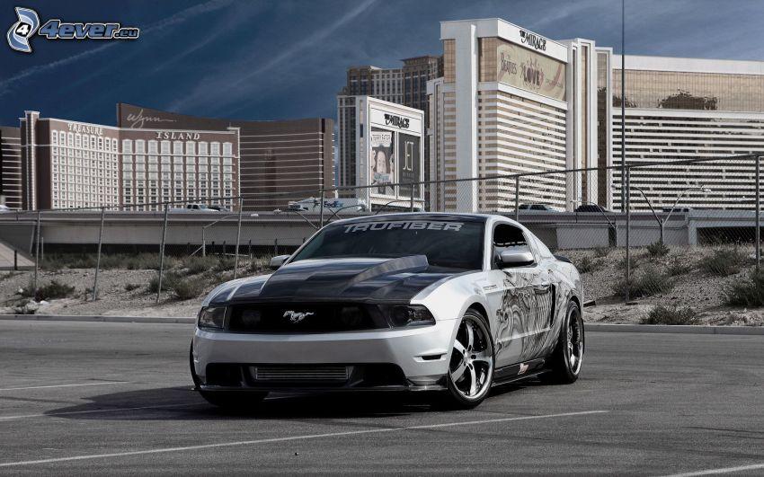 Ford Mustang, car park, buildings