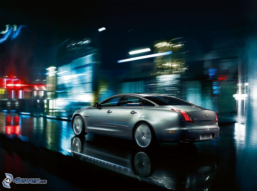 Jaguar XJ, speed, street, night
