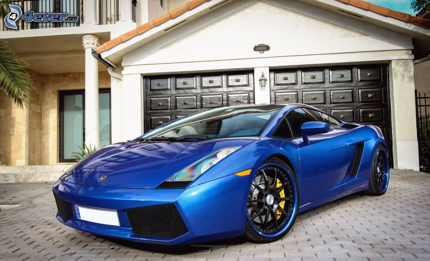Lamborghini, garage, pavement