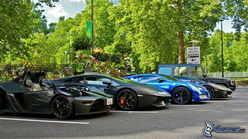 Lamborghini Aventador, car park, cars, green trees