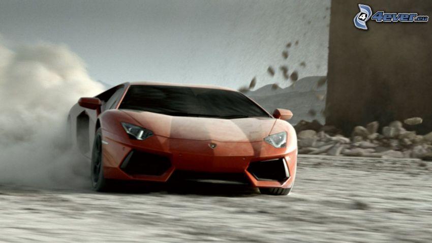Lamborghini Aventador, dust, speed