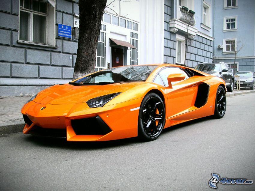 Lamborghini Aventador, house, road