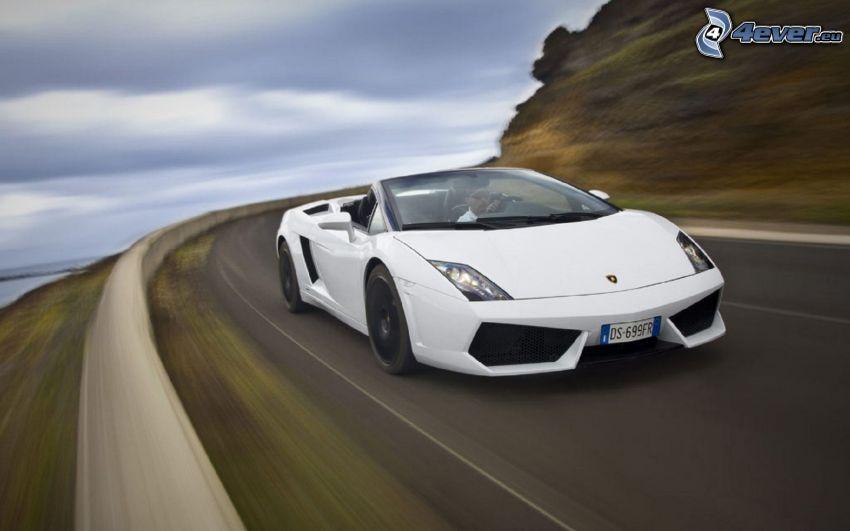 Lamborghini Gallardo Spyder, convertible, speed, road