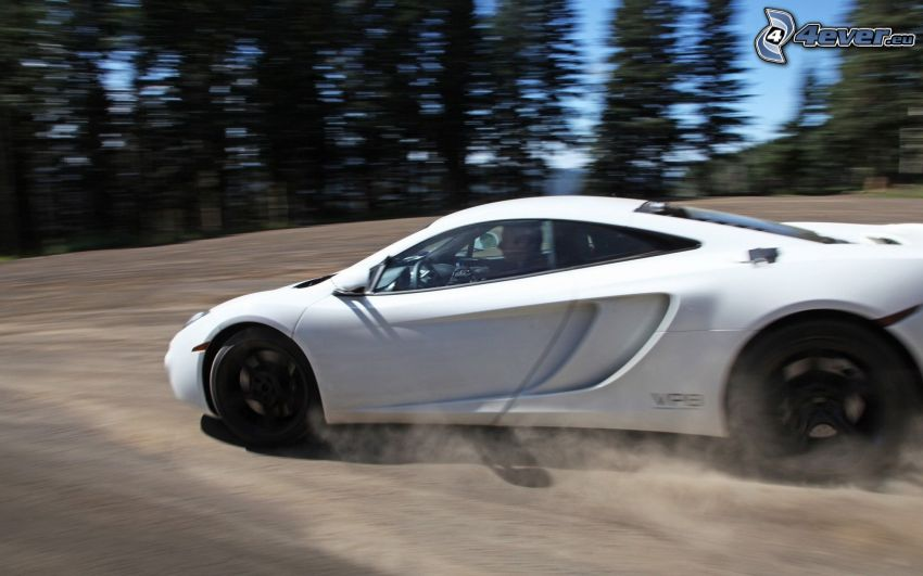 McLaren MP4-12C, drifting, dust, speed