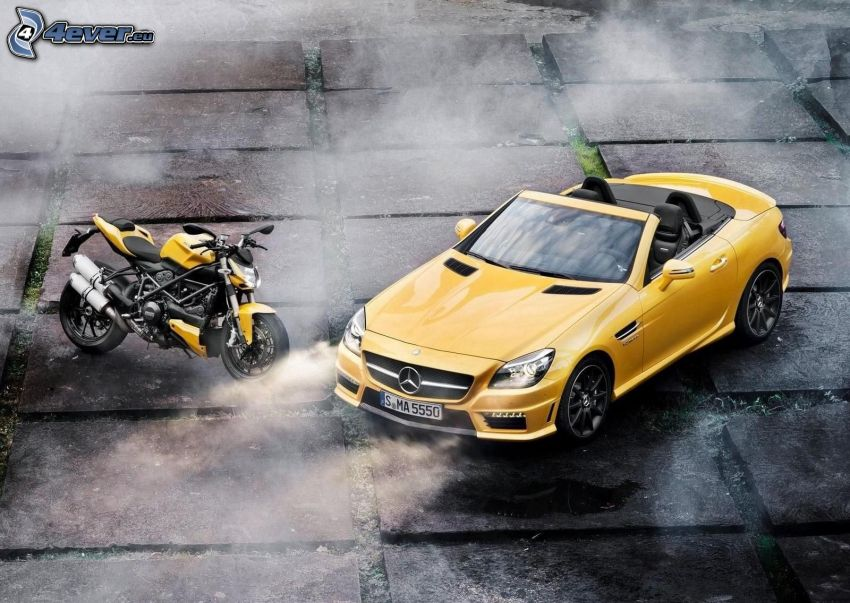 Mercedes-Benz SLK 55 AMG, convertible, Ducati Streetfighter, motocycle
