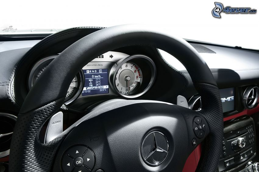 Mercedes-Benz SLS AMG, interior, steering wheel, dashboard