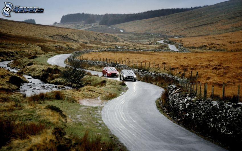 Mitsubishi Lancer, road, stream, hill