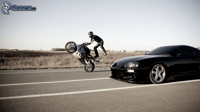 acrobatics, motocycle, moto-biker, car, tuning, road