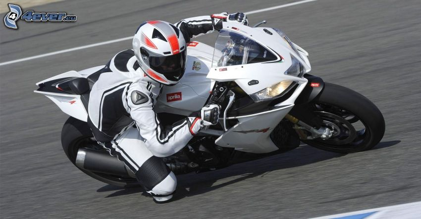 Aprilia RSV4, moto-biker, speed, racing circuit
