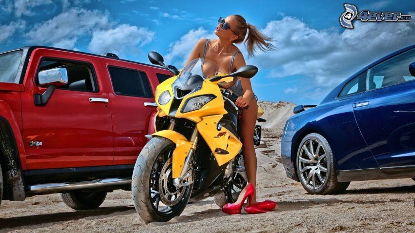 BMW bike, cars, sexy woman in swimsuit