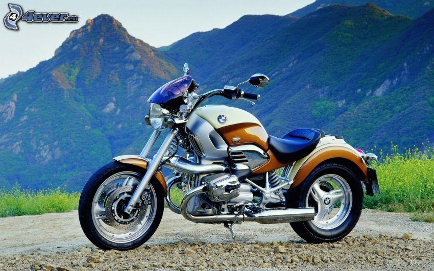 BMW bike, rocky hills
