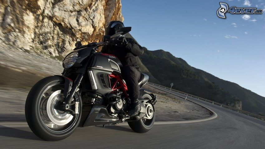 Ducati Diavel, motocycle, road, road curve, mountain