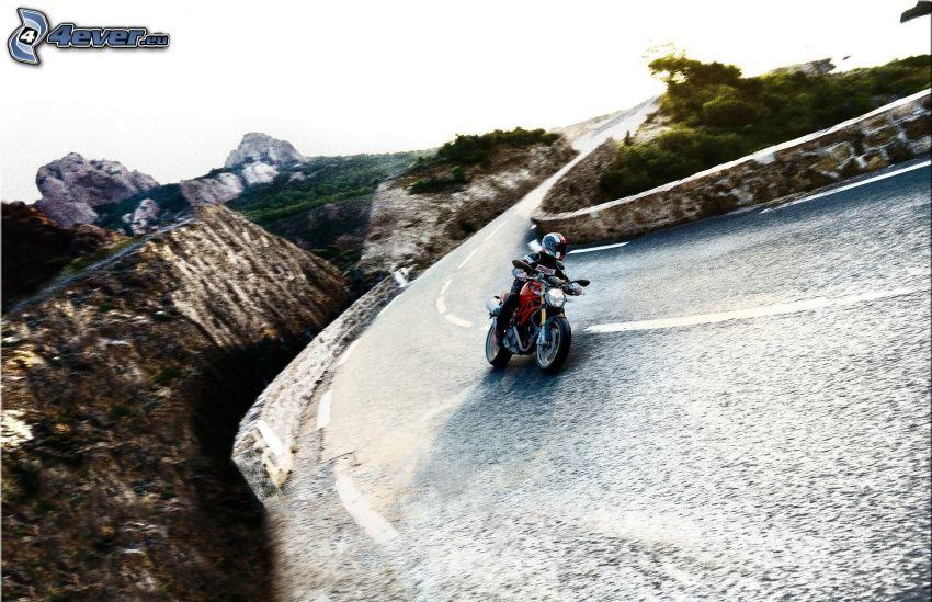 Ducati Monster 1100, moto-biker, road, road curve