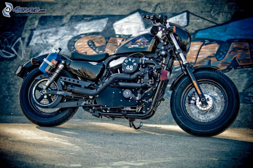 Harley-Davidson, wall, graffiti