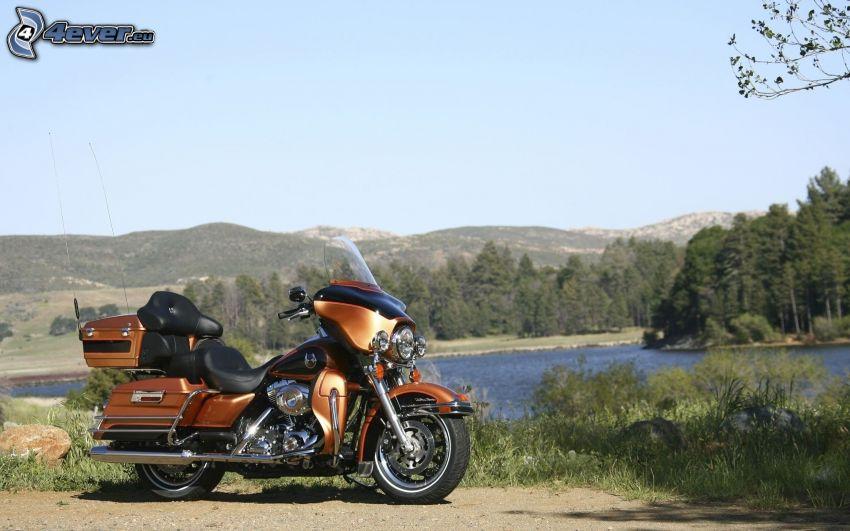 Harley Davidson Electra Glide, lake, forest
