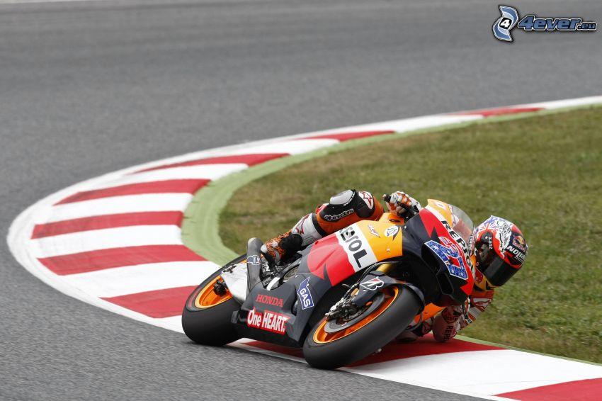 Honda, moto-biker, racing circuit, road curve