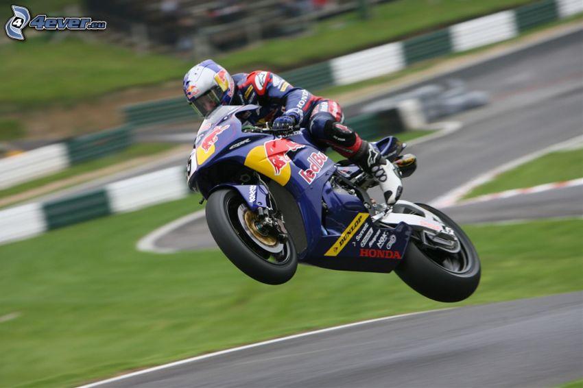 Honda CBR, moto-biker, jump, racing circuit