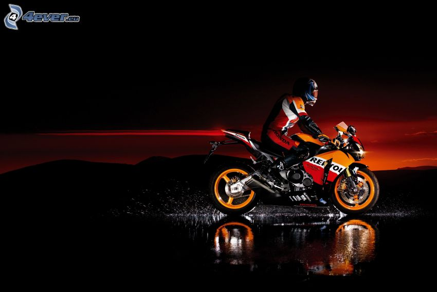 Honda CBR, moto-biker, water, evening dawn