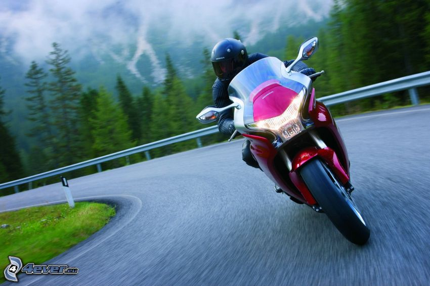 Honda VFR 1200, road curve, speed