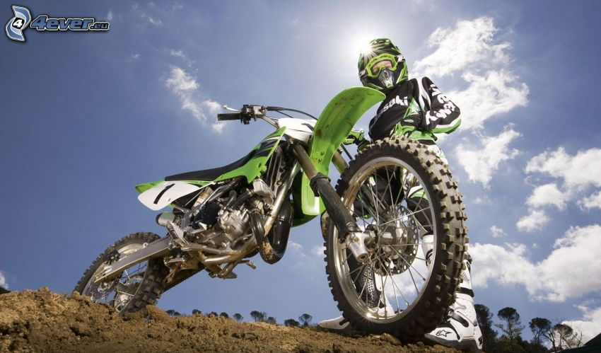 Kawasaki, motocross, clay, blue sky