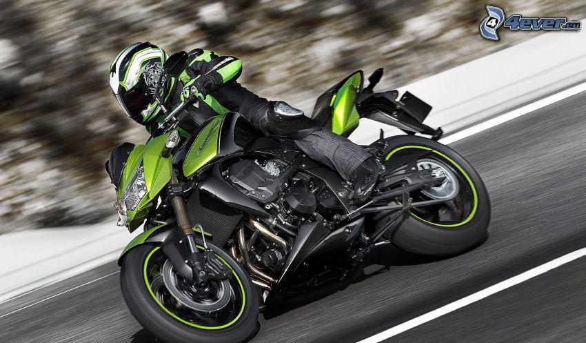 Kawasaki Z750R, moto-biker, speed