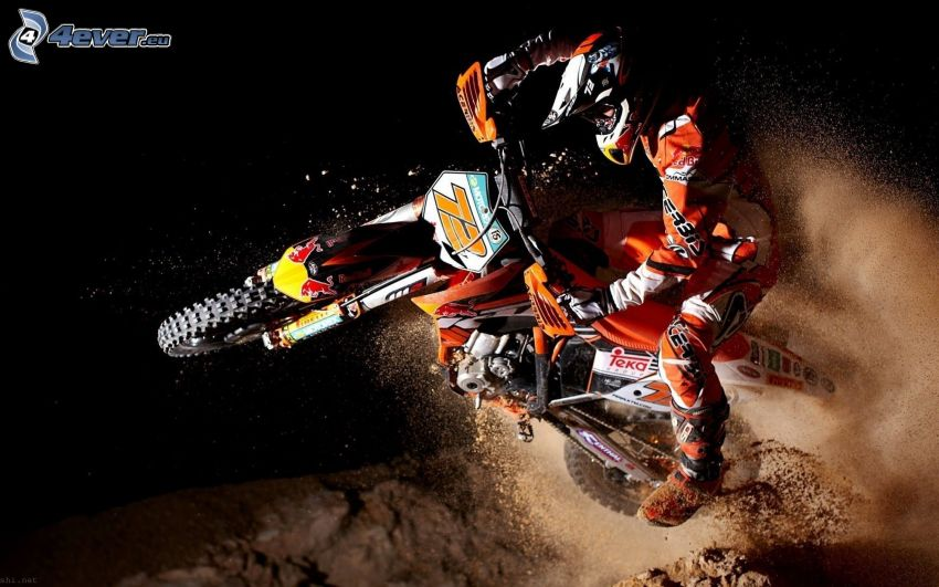 KTM RC8, moto-biker, jump, dust