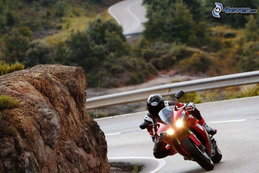 moto-biker, road curve, rock