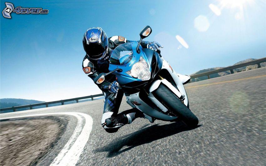 moto-biker, Suzuki, road curve, speed