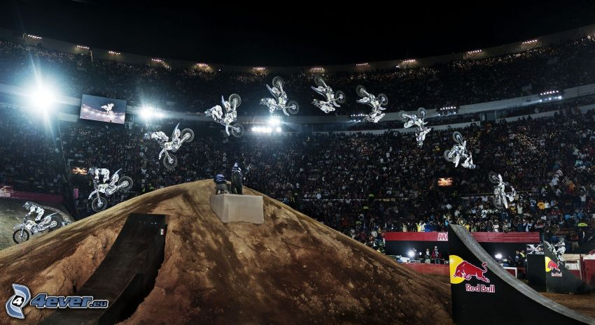 motocross, jump on motorcycle
