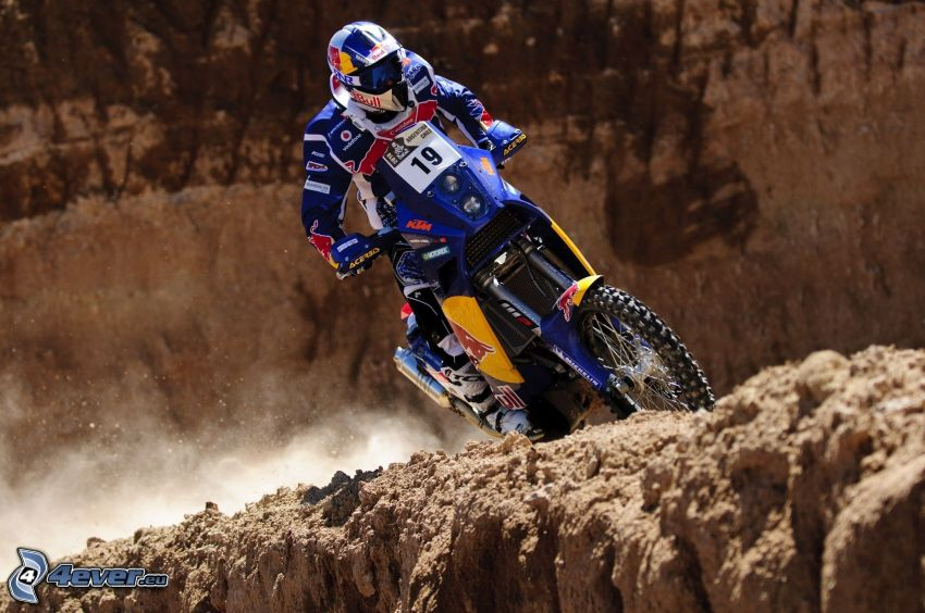 motocross, rocks