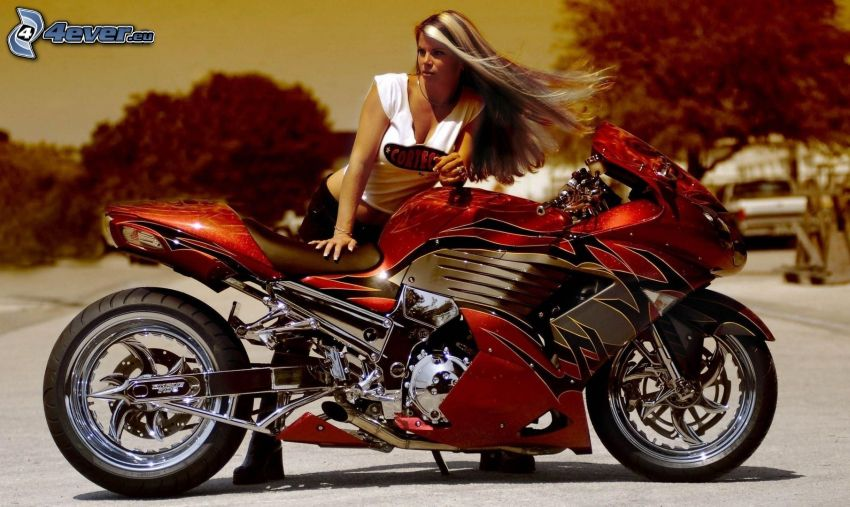 motocycle, sexy woman