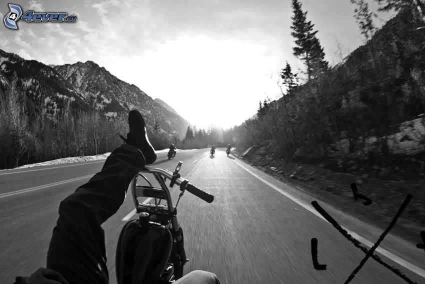motocycle, road, feet, mountains
