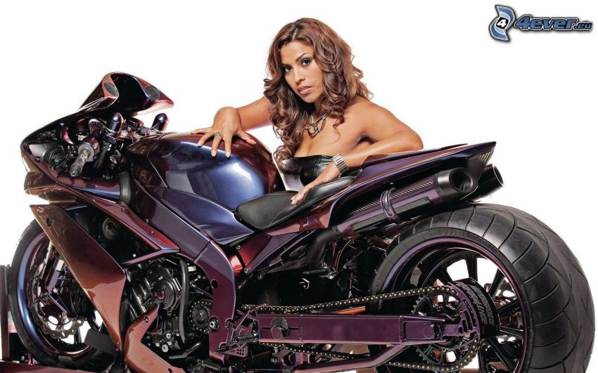 motocycle, sexy brunette