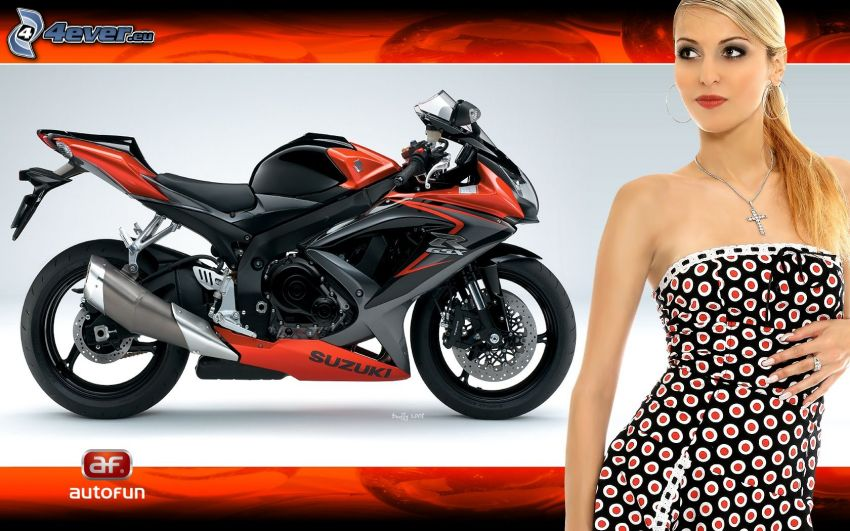 Suzuki, motocycle, sexy woman, blonde