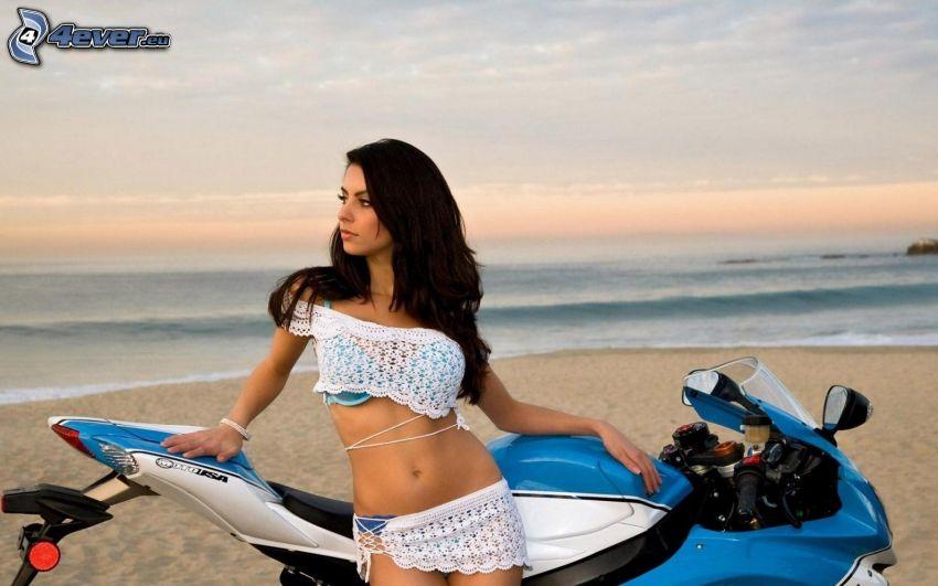 Suzuki, sexy woman in swimsuit, beach, sea