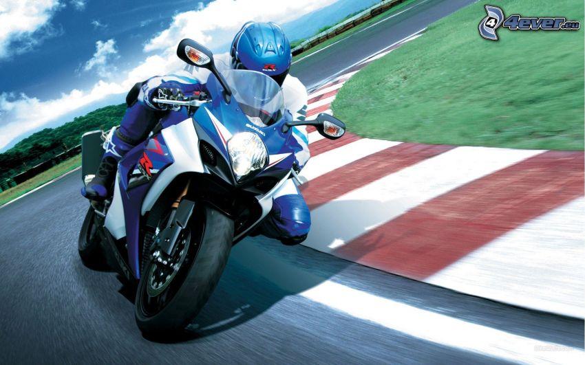 Suzuki GSX-R, moto-biker, racing circuit, speed