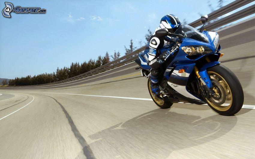 Yamaha R1, moto-biker, road, speed