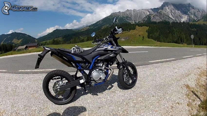 Yamaha WR125, road, rocky mountains
