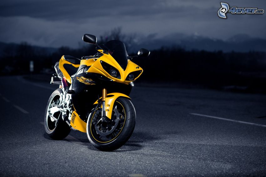 Yamaha YZF-R1, road, night