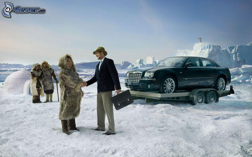North Pole, Chrysler, man and woman, snow, igloo